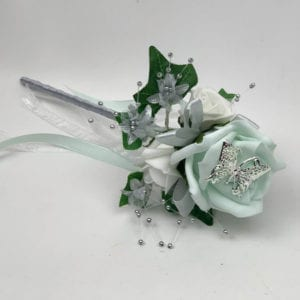 Artificial Wedding Flower Girl Wand Butterfly Rose Peppermint