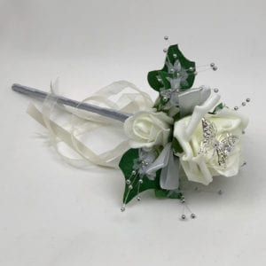 Artificial Wedding Flower Girl Wand Butterfly Rose White