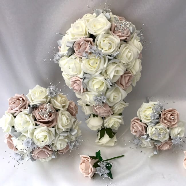 Artificial Wedding Flowers Package Butterfly Roses (2 Colours