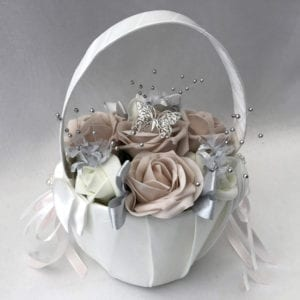 Artificial Wedding Flowers Small Child Flower Basket / Flowergirl Basket / Pageboy Basket