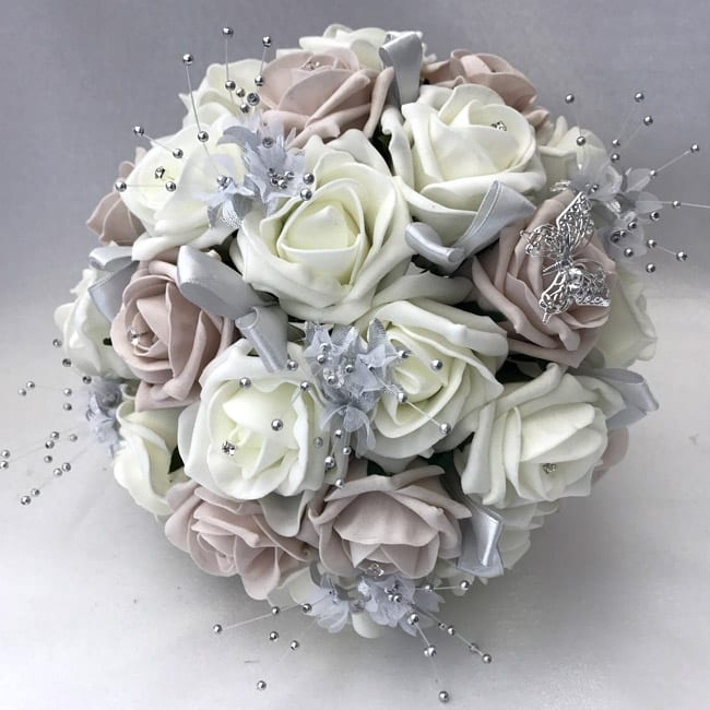 Fake Wedding Flowers Uk: Large Artificial Bridesmaid Bouquet Posy Butterfly