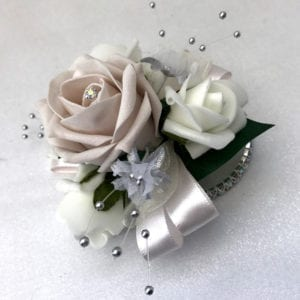 Artificial Wedding Flowers Wrist Corsage on Diamante Bracelet