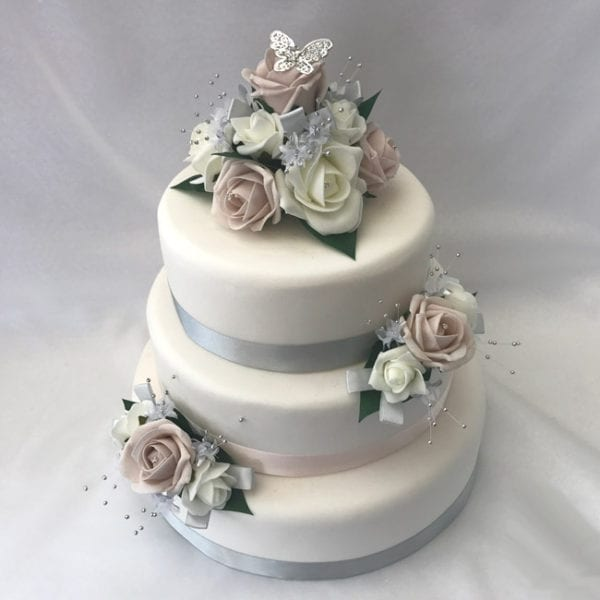 Artificial Wedding Flowers 3 piece Wedding Cake Topper