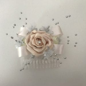 Artificial Wedding Flowers Bridal Hair Comb pictured in Ivory / Blush Pink
