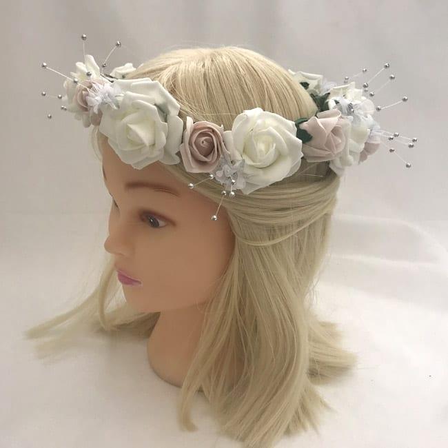 Artificial Bridesmaid Headband Flower Garland - BEAUTIFUL BOUQUETS 0bedc9cb305