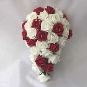 Artificial wedding flowers brides teardrop - Roses and Crystals