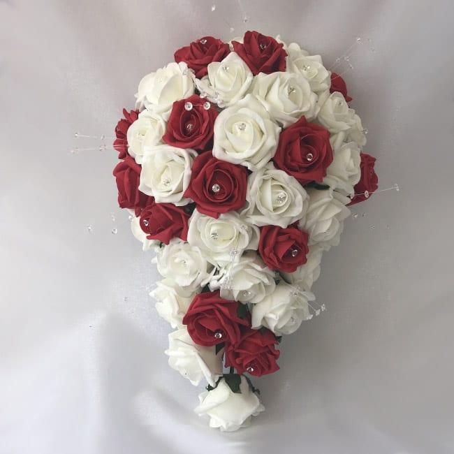 Wedding Bouquet Crystal Flowers: Artificial Bridal Posy Brides Teardrop Bouquet Crystal