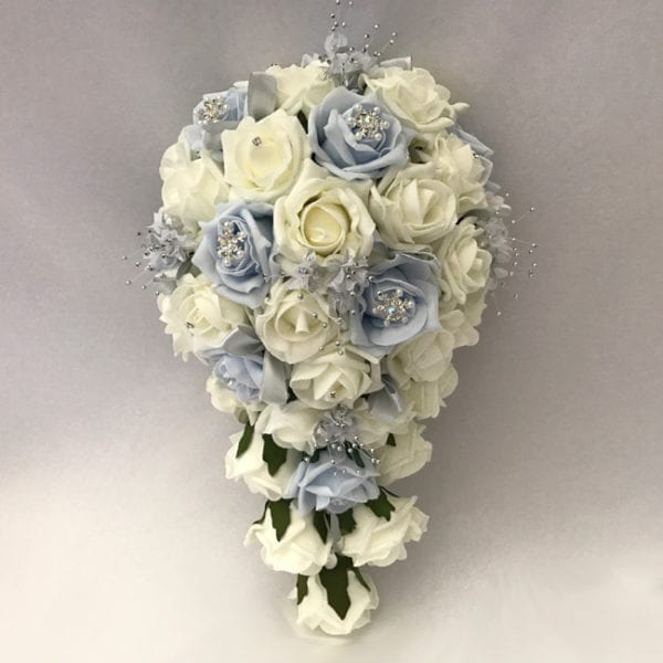 Artificial wedding flowers brides teardrop - Roses with Snowflakes