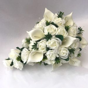 Artificial wedding flowers brides teardrop bouquet Calla Lillies and Roses