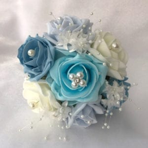 Artificial wedding flowers bridesmaid small posy - Roses and Pearls