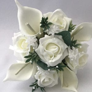 Artificial wedding flowers bridesmaid small posy - Roses and Calla Lillies