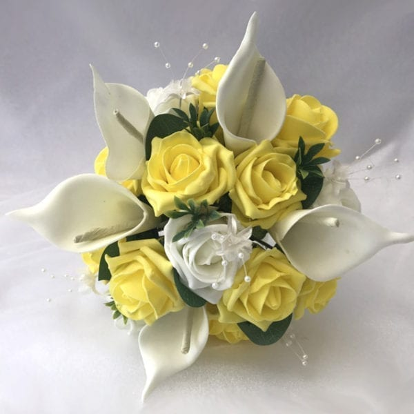 Artificial wedding flowers bridesmaid medium posy - Roses and Calla Lillies