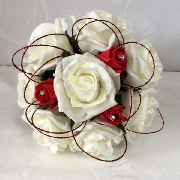 Artificial wedding flowers bridesmaid medium posy - Roses and Greenery Glitter Hoops