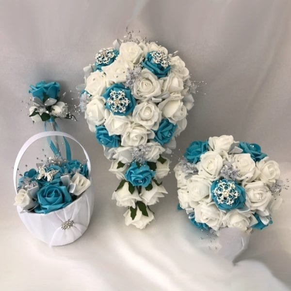 Artificial wedding flowers brides teardrop bouquet - roses and butterfly Teal