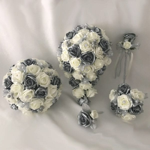 Artificial wedding flowers brides teardrop bouquet - Roses and Silver Berries