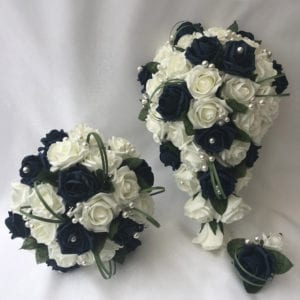 Artificial wedding flowers brides teardrop bouquet - Roses and Greenery