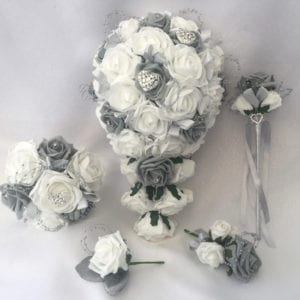 Artificial wedding flowers brides teardrop bouquet - Roses and Hearts