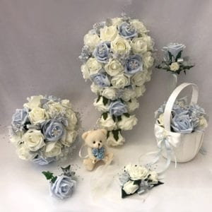 Artificial wedding flowers brides teardrop bouquet - Roses and Snowflakes