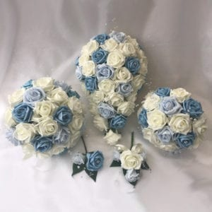 Artificial wedding flowers brides teardrop bouquet - Roses and Silver Sprays Mixed Blues