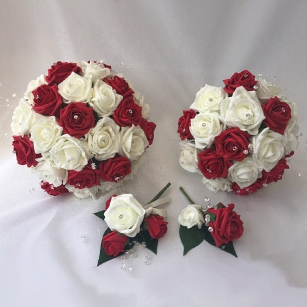 Artificial wedding flowers brides teardrop bouquet - Roses and Silver Sprays