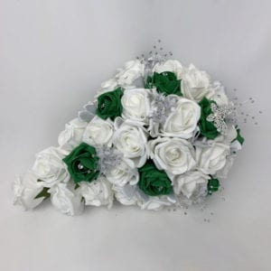 Artificial wedding flowers brides teardrop bouquet - Roses and Butterfly