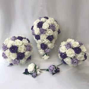 Artificial Wedding Flowers Wedding Bouquets Lilac and Purple Crystal Sprays