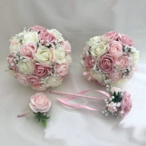 Artificial wedding flowers brides teardrop bouquet - Roses and Gypsophila