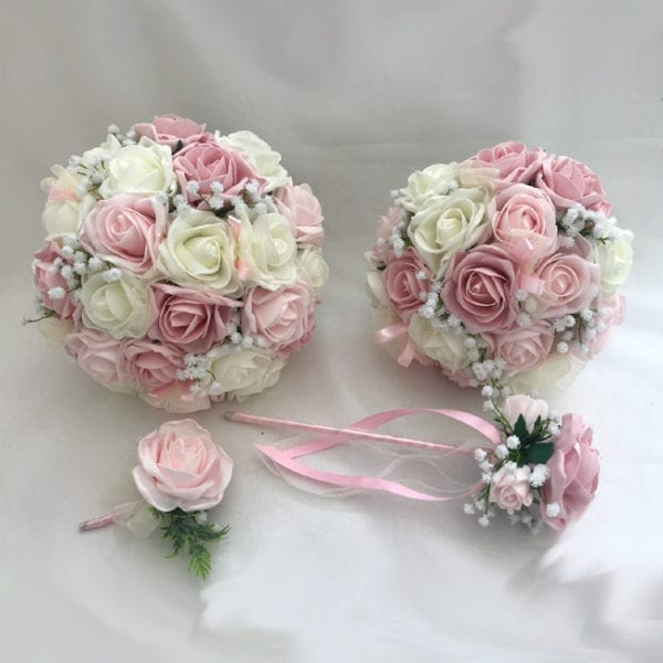 Artificial wedding flowers brides teardrop bouquet - Roses and Gypsophila