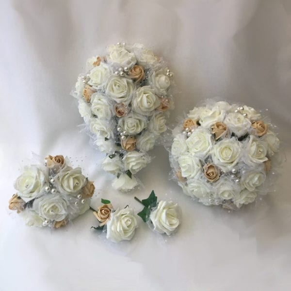 Artificial wedding flowers brides teardrop bouquet - Netted Roses