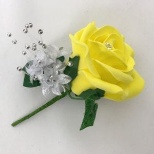 Artificial Wedding Flower Single Buttonholes Yellow