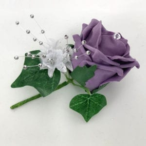 Artificial Wedding Flower Single Buttonholes Dark Lilac