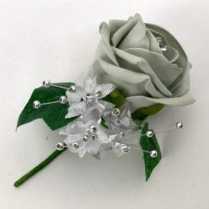Artificial Wedding Flower Single Buttonholes Silver Grey