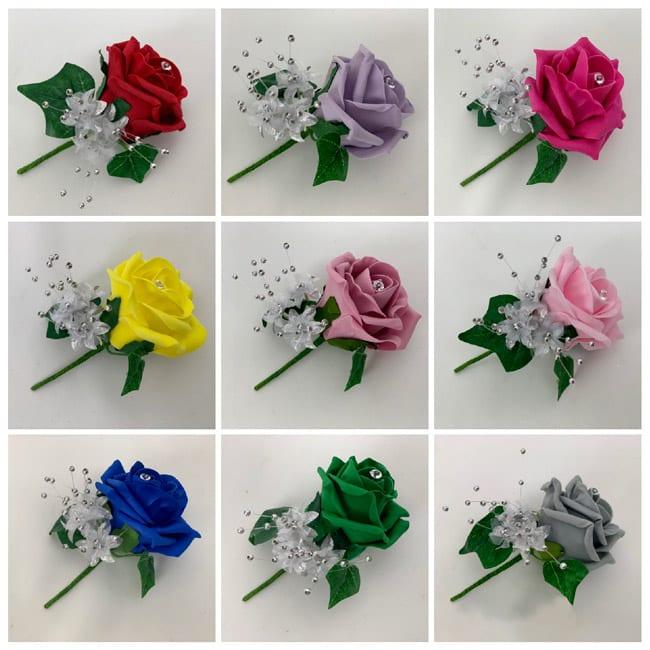 Artificial Buttonhole Wedding Corsage Single Rose Silver
