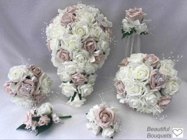 Artificial Wedding Flowers Package - Butterfly Roses - 2 Colours