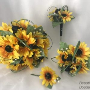 Artificial Prom Wrist Corsages - Sunflowers