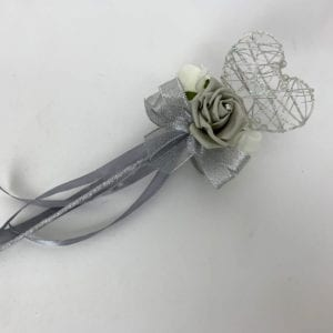Artificial Wedding Flower Girl Wand Silver Grey with Silver Glitter Heart