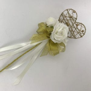 Artificial Wedding Flower Girl Wand Gold with Silver Glitter Heart
