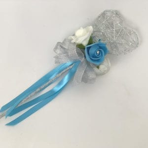 Artificial Wedding Flower Girl Wand Turquoise with Silver Glitter Heart