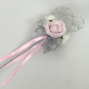 Artificial Wedding Flower Girl Wand Baby Pink with Silver Glitter Heart