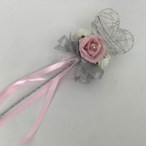 Artificial Wedding Flower Girl Wand Vintage Pink with Silver Glitter Heart
