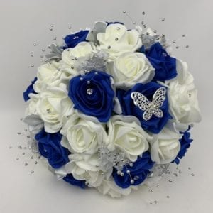 round brides posy royal blue