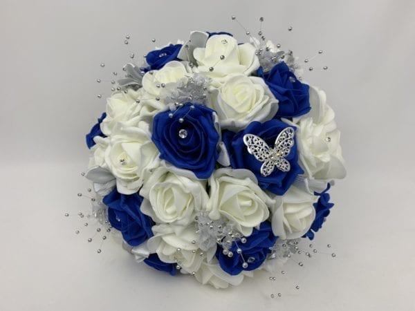 round brides posy royal blue