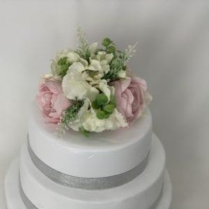 Peony wedding cake topper