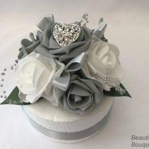 silver heart cake topper