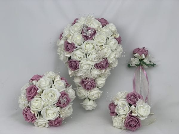artificial wedding bouquets dusky pink