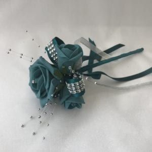 Diamante flower girl wand teal