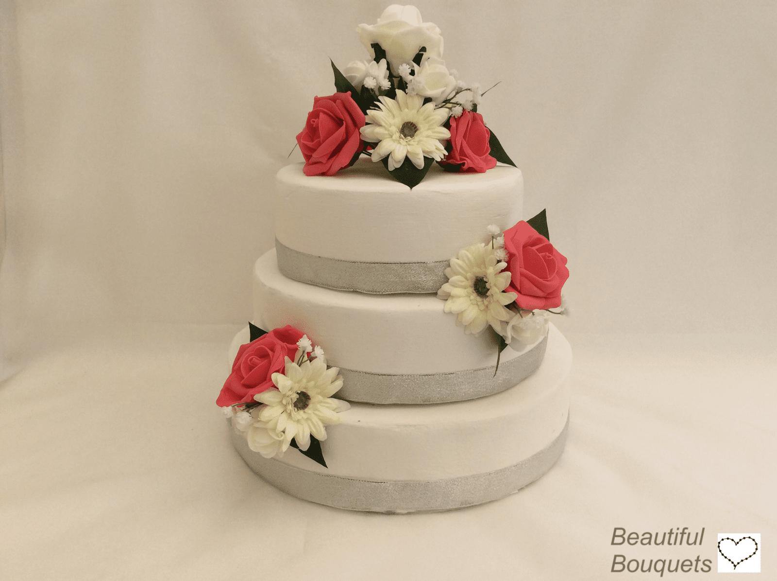 Artificial Wedding Cake Topper Gerbera 3 Pieces Beautiful Bouquets