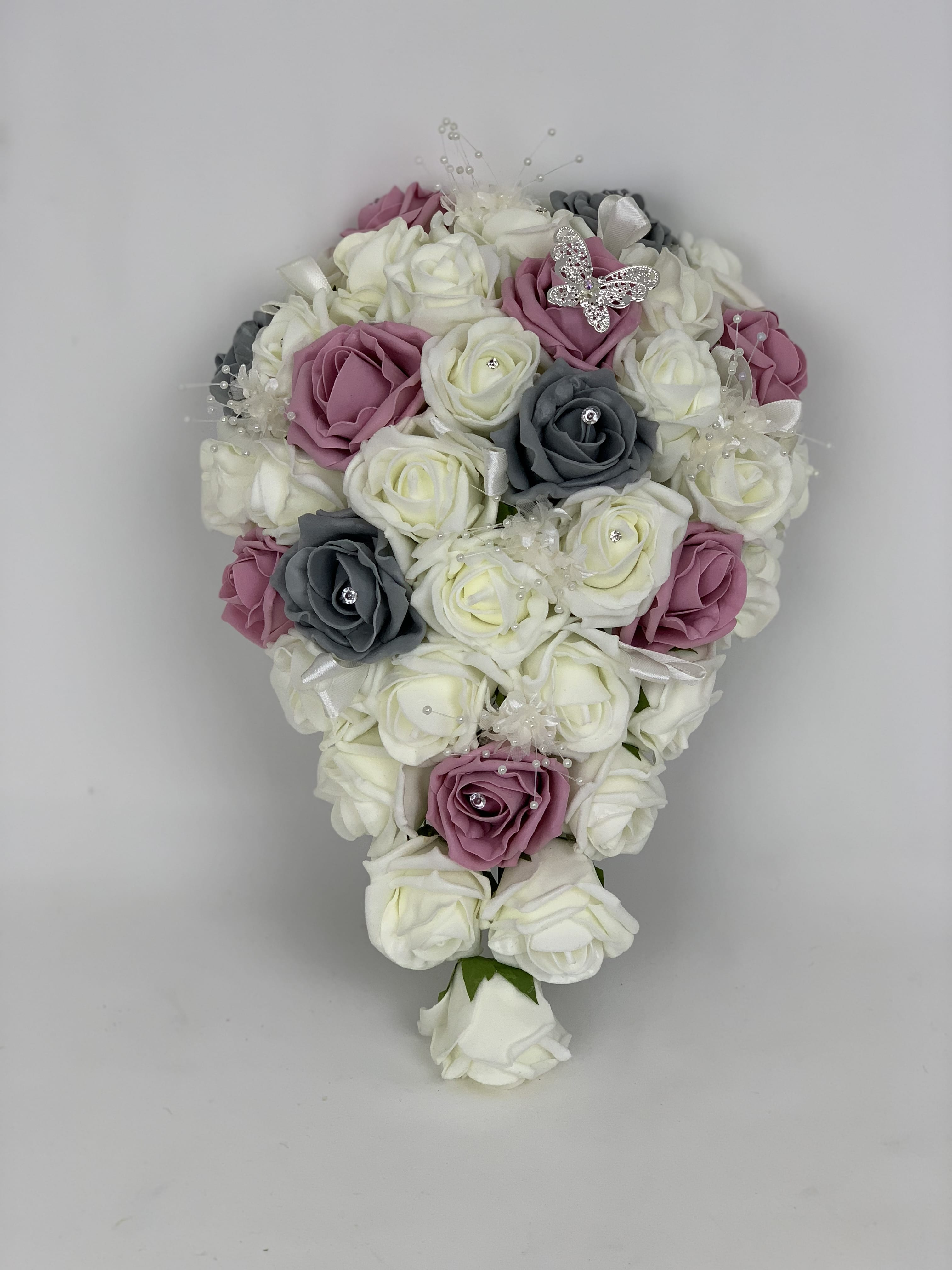 Artificial Bridal Teardrop Bouquet Butterfly Ivory Beautiful Bouquets