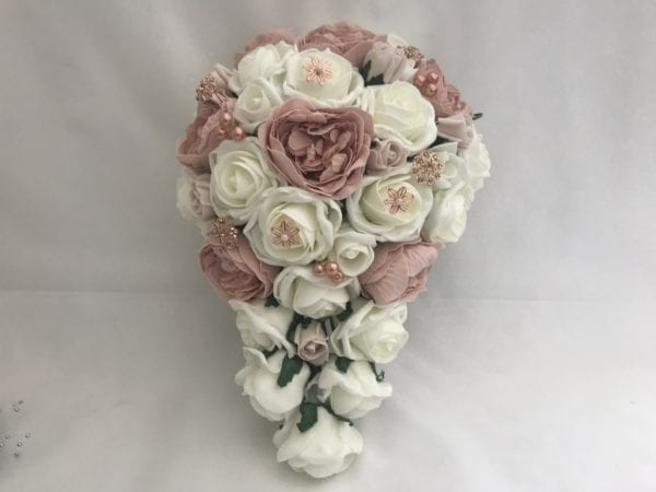artificial wedding bouquet brides teardrop