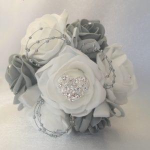 small grey heart bouquet